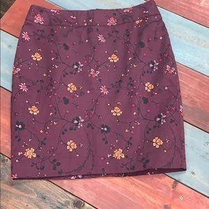 NWOT Loft Berry Floral Pencil Skirt